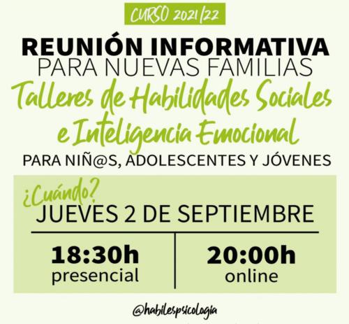 Curso 2021/22, reunión informativa para nuevas familias